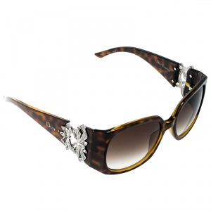 Dior Brown Tortoise/ Brown Gradient 791JS Froufrou Embellished Oversize Square Sunglasses