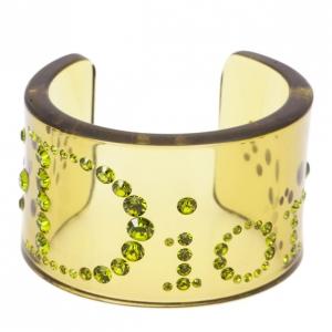 Dior Vintage Lucite Crystal Green Bangle