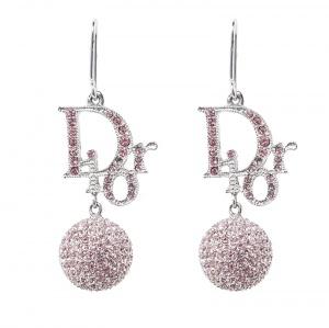 Dior Pink Crystal Embellished Silver Tone Drop Hook Earrings