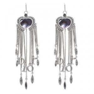 Dior Heart Crystal Embellished Silver Tone Long Tassel Hook Earrings