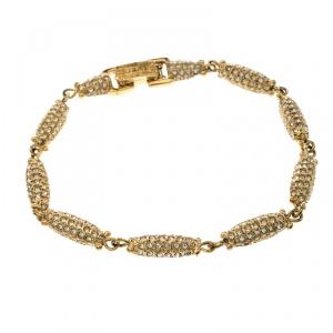 Dior Crystal Studded Gold Tone Bracelet Size 21 cm