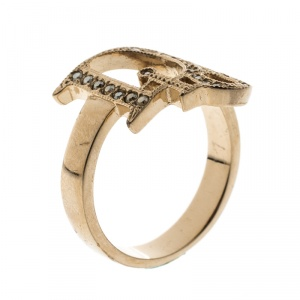 Dior Crystal Studded Logo Rose Gold Tone Ring Size 54
