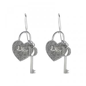 Dior Heart Lock & Key Charm Crystal Silver Tone Drop Hook Earrings