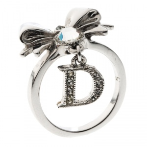 Dior Bow Crystal Embellished Silver Tone Ring