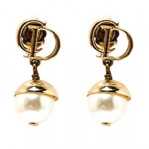 Dior Mise en Dior Faux Pearl Gold Tone Drop Earrings