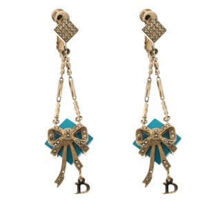 Dior Blue Stone Crystal Rose Gold Tone Long Earrings