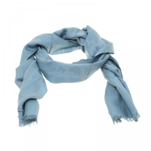 Dior Blue Silk and Wool Diorissimo Patterned Fringed Edge Scarf