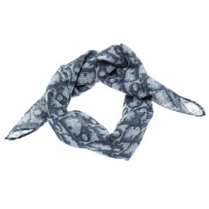 Dior Blue Diorissimo Printed Cotton Sheer Square Scarf