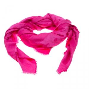 Dior So Dior Pink Silk and Wool Jacquard Fringed Edge Shawl