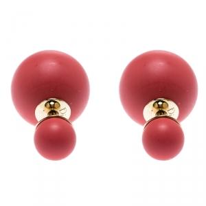 Dior Tribales Mise en Dior Matte Salmon Pink Gold Tone Stud Earrings