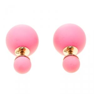Dior Mise en Dior Tribales Coral Pink Stud Earrings