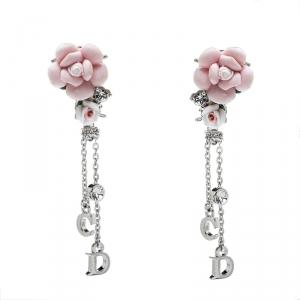 Dior Crystal Embellished Rose Dangle Clip On Earrings