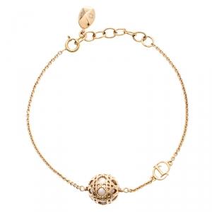 Dior Secret Cannage Faux Pearl Gold Tone Bracelet