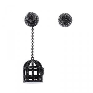 Dior Noir Crystal Mise en Dior Tribales Asymmetric Birdcage Earrings