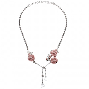 Dior Crystal Chain Rose Embedded Choker Necklace