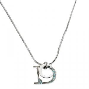 Dior Crystal Encrusted Logo Pendant Silver Tone Necklace