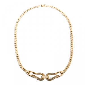 Dior Crystal Encrusted Entwined Pendant Gold Tone Choker Necklace