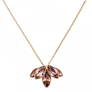 Dior Pink Crystal Flower Gold Tone Necklace