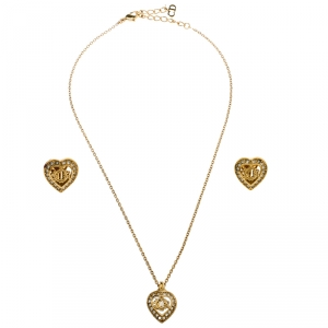 Dior Crystal Studded Gold Tone Necklace and Earrings Set