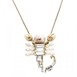 Dior Gold Tone Crystal Christian Me Zodiac Scorpion Pendant Necklace