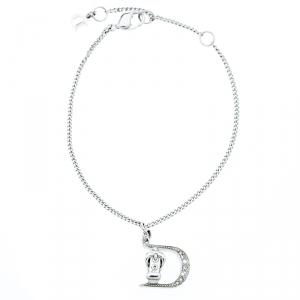 Dior Crystal Encrusted Gaucho Logo Silver Tone Bracelet