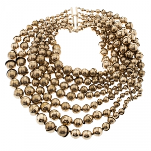 Dior Mise En Dior Tiered Gold Tone Metal Bead Choker Necklace