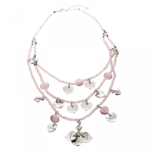 Dior Lavender Bead Layered Silver Tone Heart Charms Necklace