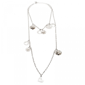 Dior Multi Charms Two Tiered Sterling Silver Necklace