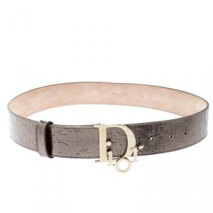 Dior Olive Green Diorissimo  Patent Leather Logo Belt 85 CM