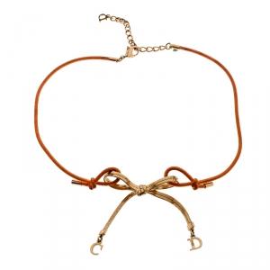 Dior Orange Cord CD Charm Gold Tone Bow Choker Necklace