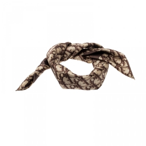Dior Vintage Brown Logo Printed Silk and Cotton Trotter Square Scarf