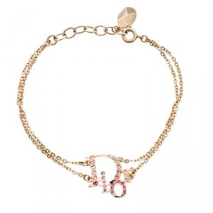 Dior Oblique Crystal Gold Tone Bracelet 19 cm