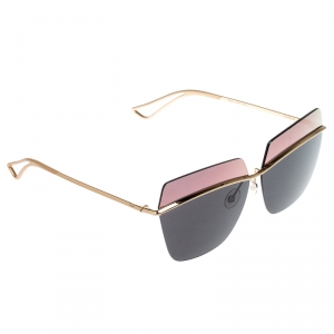 Christian Dior Gold/Black Rose Gold Mirrored Dior Metallic Square Sunglasses