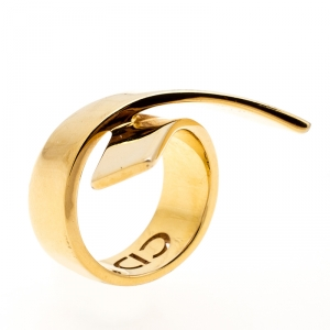 Dior Ribbon Wrap Gold Tone Band Ring Size 56