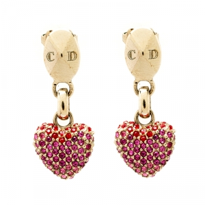 Dior Shaded Pink Crystal Gold Tone Heart Drop Earrings