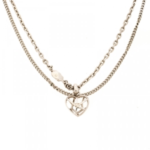 Dior Heart Silver Tone Multi Chain Pendant Necklace