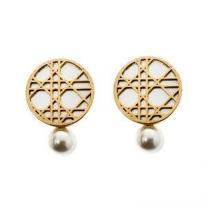 Dior Cannage Faux Pearl Gold Tone Clip-on Stud Earrings