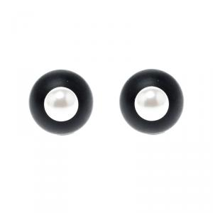 Dior Mise En Tribales Black Resin Faux Pearl Stud Earrings