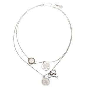 Dior Bow Button Charm Crystal Silver Tone Layered Necklace