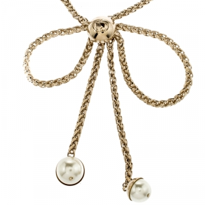 Dior Bow Faux Pearl Gold Tone Chain Necklace