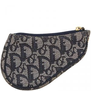 Dior Gray/Blue Canvas Oblique Saddle Pouch