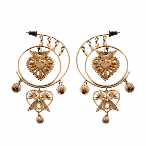 Dior Heart Wings Filigree Gold Tone Long Dangle Earrings