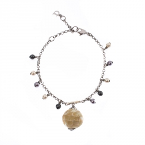 Dior Mother of Pearl Silver Tone D Charm Bracelet