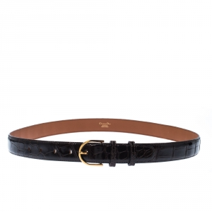 Dior Dark Brown Alligator Leather Buckle Belt 95 CM