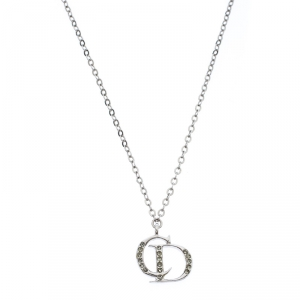 Dior Crystal Accented CD Silver Tone Necklace