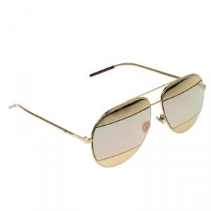 Dior Gold/Black Pink Mirrored 0000J Split1 Aviator Sunglasses