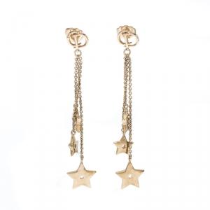 Dior Star Chain Gold Tone Tassel Earrings