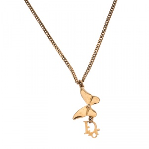 Dior Butterfly Charm Gold Tone Chain Link Necklace