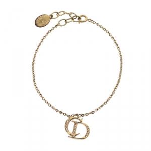 Dior CD Logo Crystal Gold Tone Charm Bracelet