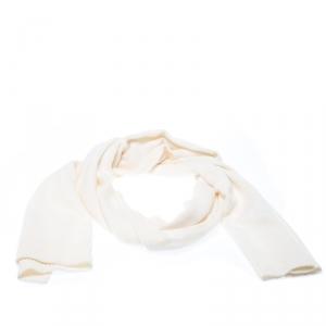 Dior Cream Knit Cashmere Scarf